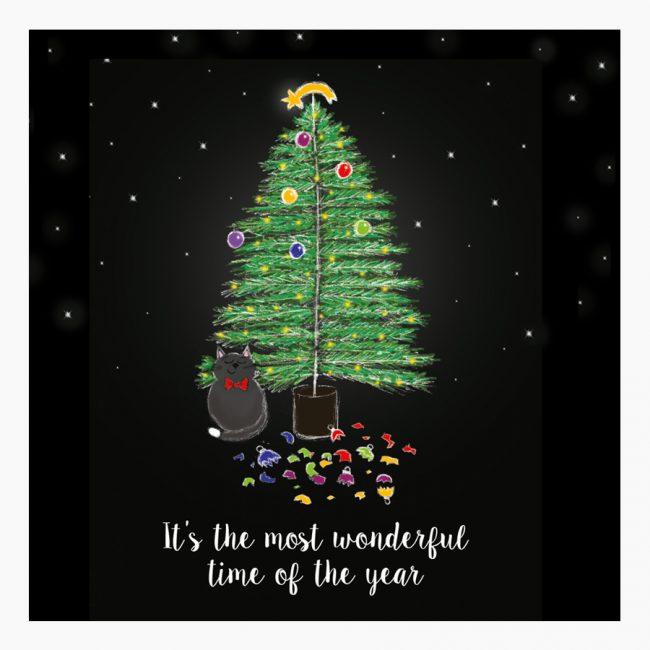 Studio Vol Vertrouwen Overijssel Vriezenveen grafisch ontwerp illustratie kerst kerstkaart kat kerstballen sneeuw sterren