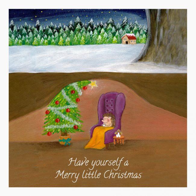 kerstkaart kerst egeltje winter Studio Vol Vertrouwen Overijssel Vriezenveen grafisch ontwerp illustratie