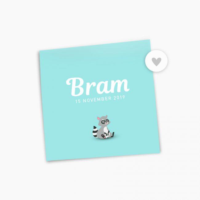 Geboortekaartje Bram wasbeer sluitzegel mintgroen kindje jongetje