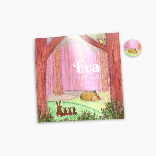 Geboortekaartje Bram hertje sluitzegel roze kindje meisje illustratie bosdieren