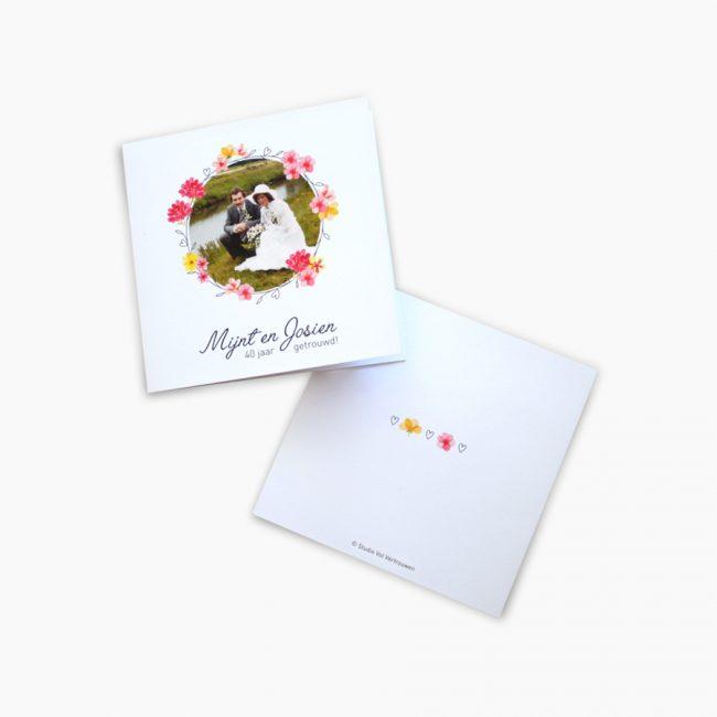 Studio Vol Vertrouwen Overijssel Vriezenveen grafisch ontwerp illustratie 40 jarig jubileum kaart bloemen vrolijk huwelijk