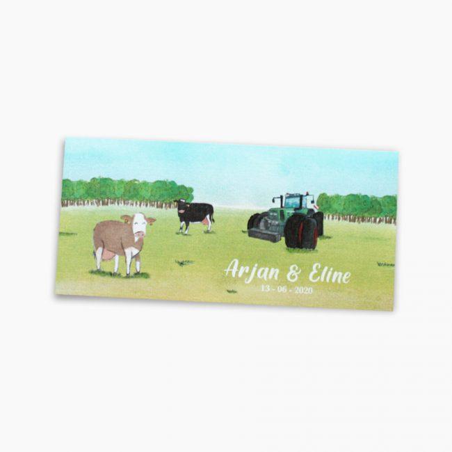 trouwkaart boerderij trekker koeien illustratie fendt Studio Vol Vertrouwen Overijssel Vriezenveen grafisch ontwerp illustratie