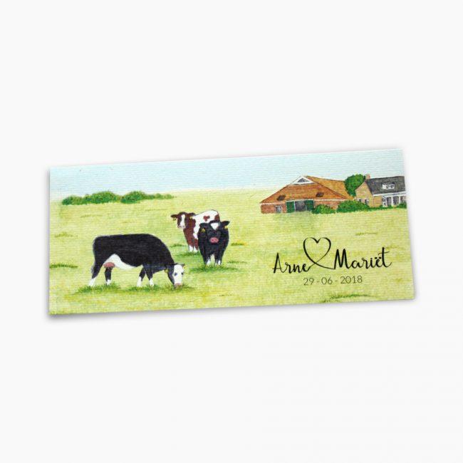 trouwkaart boerderij koeien oude pekela trekker Studio Vol Vertrouwen Overijssel Vriezenveen grafisch ontwerp illustratie