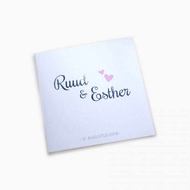 trouwkaart zilverfolie hartjes eenvoud wit Studio Vol Vertrouwen Overijssel Vriezenveen grafisch ontwerp illustratie