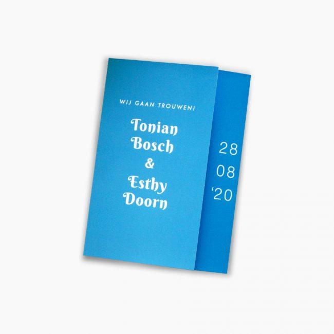 trouwkaart blauw elegant eenvoudig Studio Vol Vertrouwen Overijssel Vriezenveen grafisch ontwerp illustratie