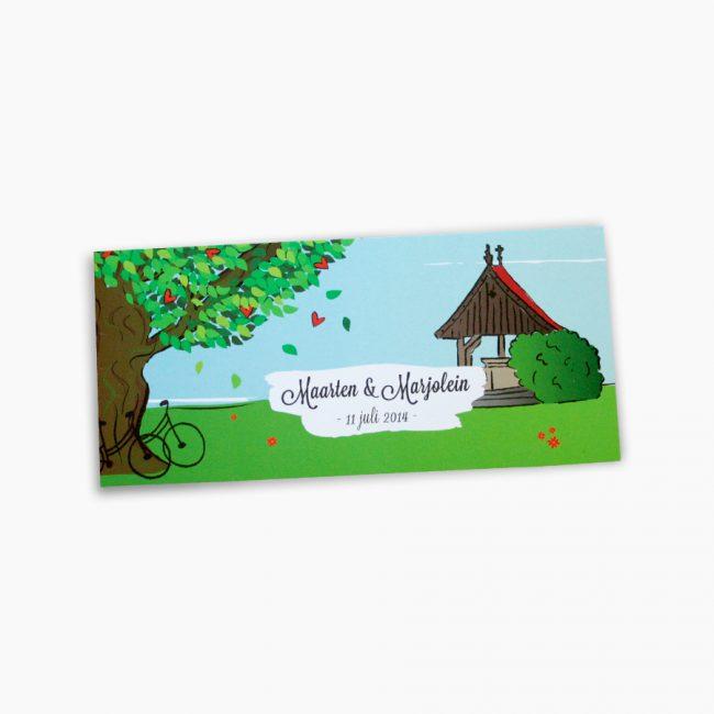 trouwkaart kroezeboom fleringen illustratie