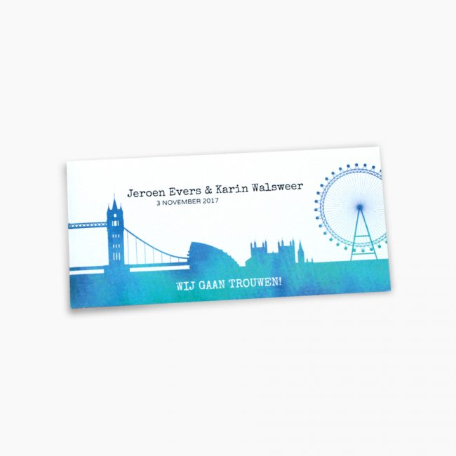 Trouwkaart Londen BigBen towerbridge London eye illustratie