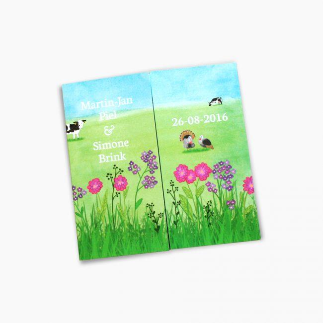 Trouwkaart boerderij dieren vrolijk kleuren illustratie koeien pauw varkens kalkoenen Studio Vol Vertrouwen Overijssel Vriezenveen grafisch ontwerp illustratie