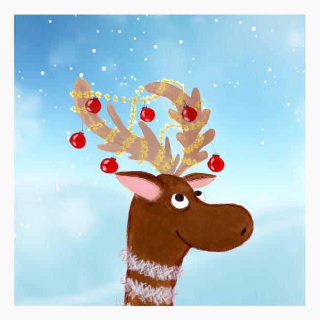 Studio Vol Vertrouwen Grafisch ontwerp illustratie eland kerst nieuwjaar